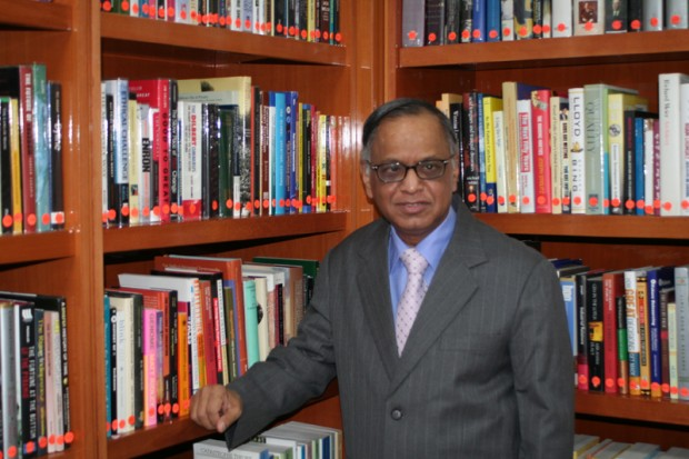 Narayana Murthy in Libray in His Residence