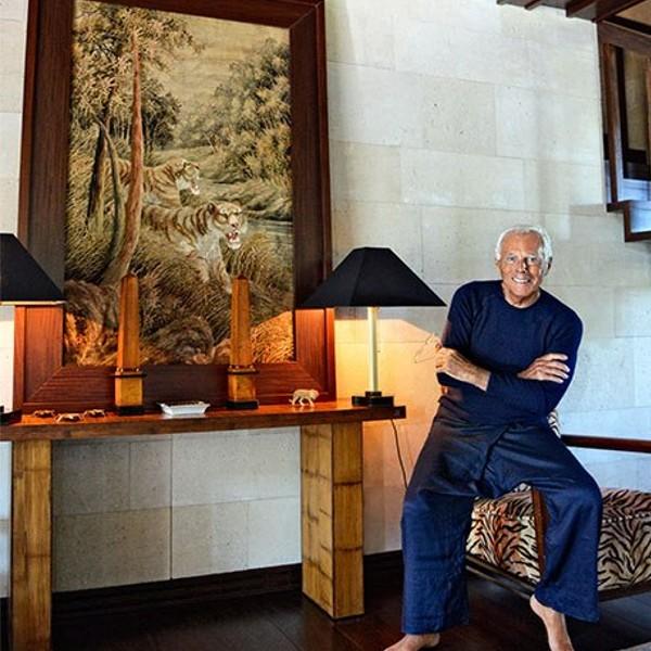 Giorgio Armani in His Living Room