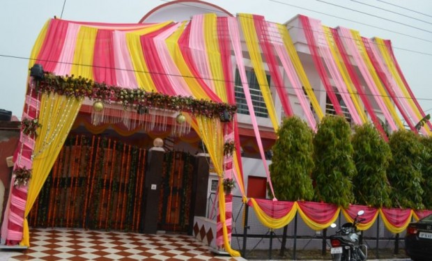Raina's House decorated for his wedding