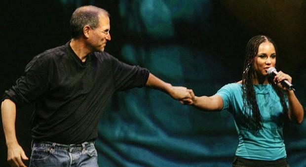 Steve Jobs and Alicia Keys