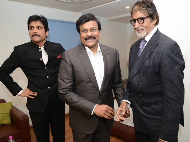 South Indian Stars Nagarjuna and Chiranjeevi with Amitabh