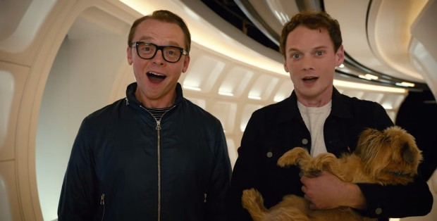 Yelchin with Simon Pegg