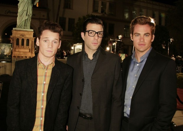 Anton Yelchin with Zachary Quinto and Chris Pine