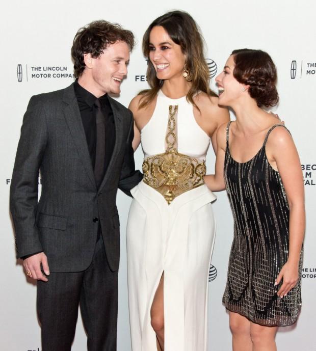 Anton Yelchin with Olivia Thirlby, and Berenice Marlohe