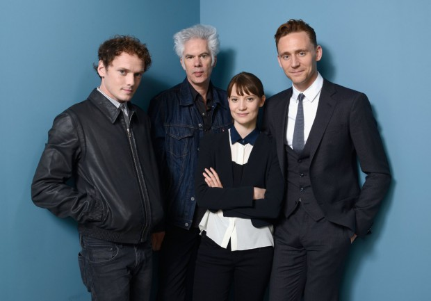 Anton Yelchin with Jim Jarmusch, Tom Hiddleston, and Mia Wasikowska at Only Lovers Left Alive