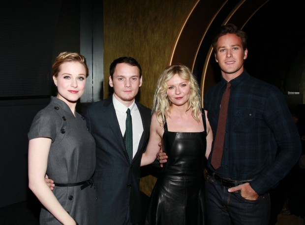 Anton Yelchin with Kirsten Dunst, Evan Rachel Wood and Armie Hammer