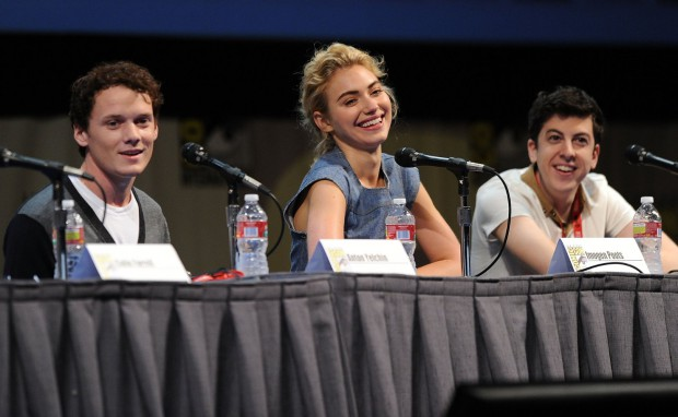 Anton Yelchin with Imogen Poots, and Christopher Mintz-Plasse at Comic-Con