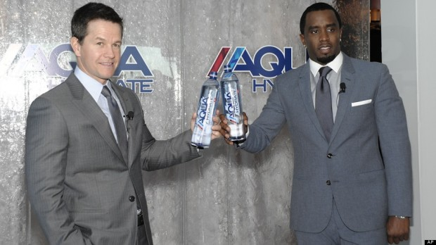 Sean Combs and Mark Wahlberg during Aqua Hydrate Promotion