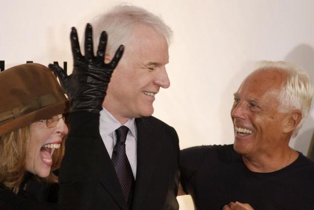 Giorgio Armani with Diane Keaton and Steve Martin