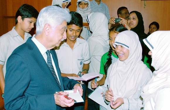 Azim Premji with students