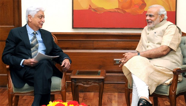 Azim Premji with Indian Prime Minister Narendra Modi