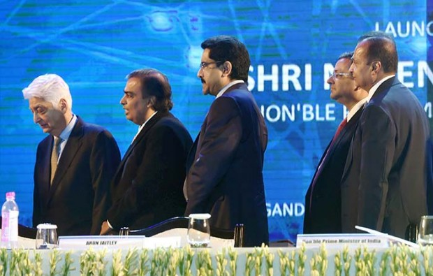 Azim Premji with other business tycoons at Digital India Summit