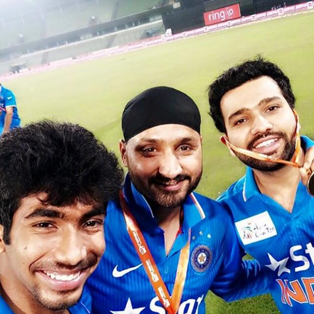 Bumrah, Bajji and Rohit Sharma After a Match