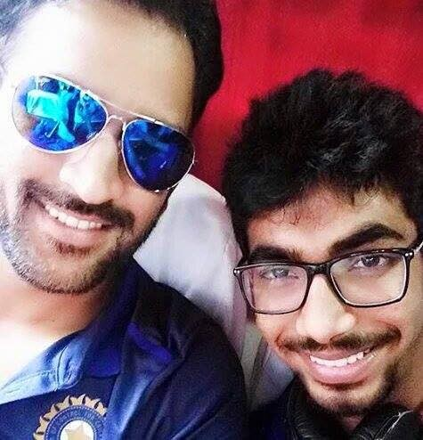 Jasprit Bumrah with Indian Captain Mahendra Singh Dhoni