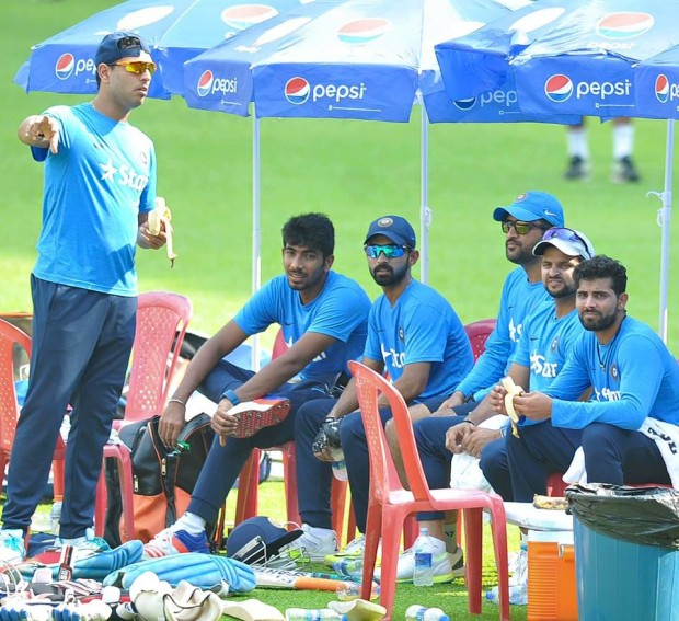 Bumrah with Indian Cricketers During Practice Session
