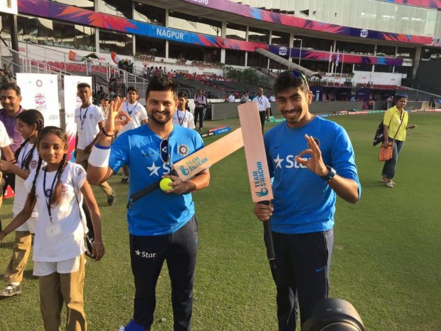 Bumrah Posing Along with Raina Before Start of a Match in Nagpur