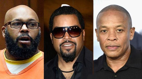 Dr Dre, Ice Cube and Suge Knight