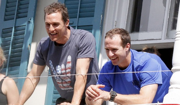drew brees with actor Matthew McConaughey