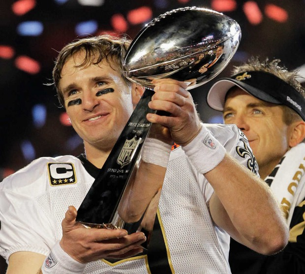 Drew Brees with Lombardi trophy