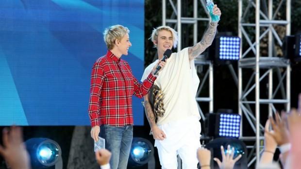 Ellen DeGeneres and Justin Bieber