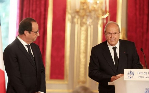 Francois Hollande and Marc Ladreit of Lacharriere