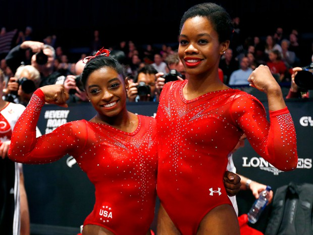 Simone Biles and Gabby Douglas at Gymnastics World Championship