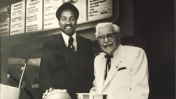 George Tinsley with Colonel Sanders