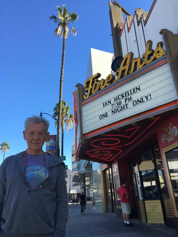 Ian McKellen at the Fine Arts Theater in Los Angeles