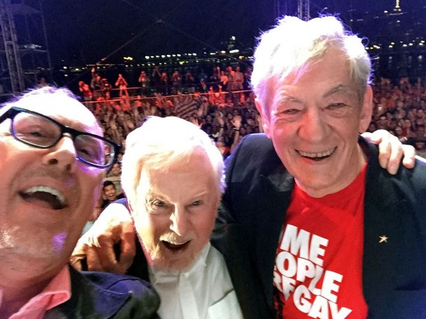 Richard, Derek and Ian took selfie on stage for PBS Vicious