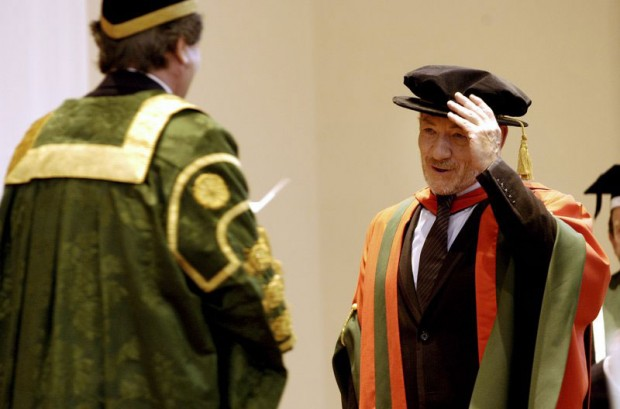 Lord Bragg presents the honorary doctorate to Sir Ian McKellen
