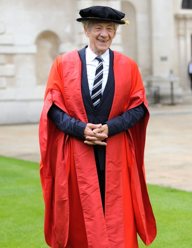 Sir Ian McKellen receives an honorary doctorate at St. Catherines College Cambridge