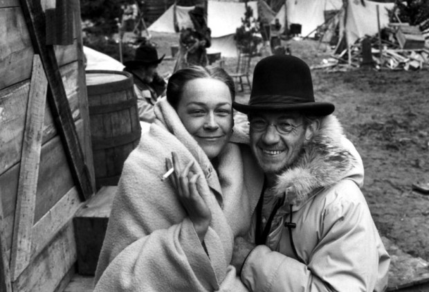 Cathy Haase and Ian McKellen on the set of The Ballad of Little Jo Red Lodge Montana