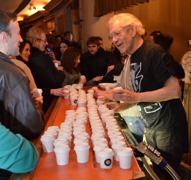 Sir Ian McKellen serving hot chocalate at Cort Theater