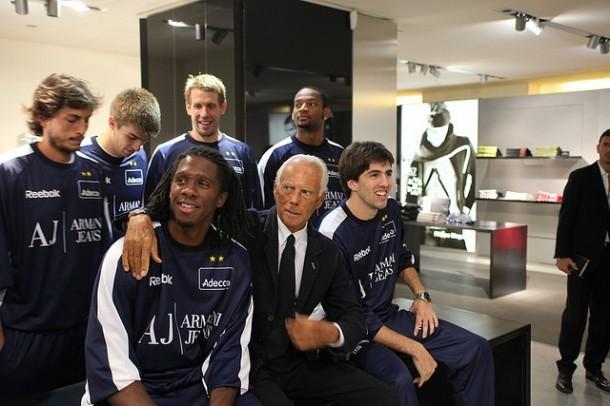 Armani with Italian league Olimpia basketball players