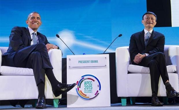 Jack Ma with US President Barack Obama