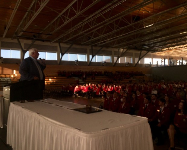 Jim Justice speaking to SkillsUSA students at Camp Dawson