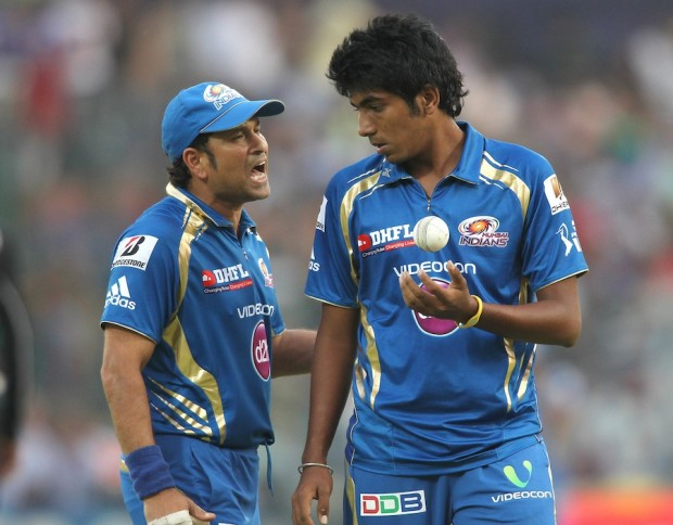 Jasprit Bumrah with Sachin Tendulkar in an IPL Match