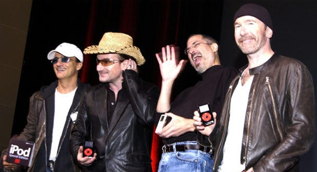 Steve with Jimmy, Bono and The Edge