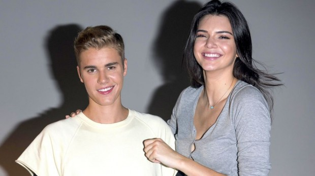Justin Bieber with Kendall Jenner during Calvin Promo Shoot