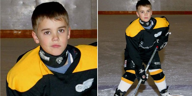 Justin Bieber Playing Hockey in His Childhood