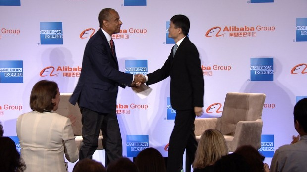 Alibaba Group Founder Jack Ma with American Express CEO Ken Chenault