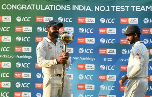 Virat Kohli with ICC Test Mace which is given for No.1 team in Tests by ICC