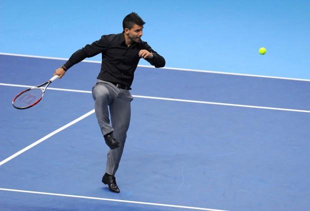 Sergio Aguero showing his tennis skills at ATP World Tour Finals
