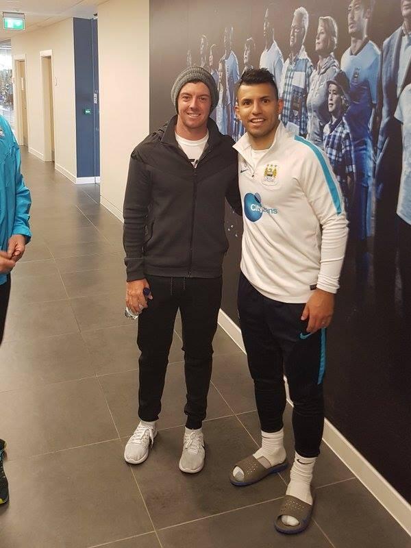 Segio Aguero with Rory McIlroy