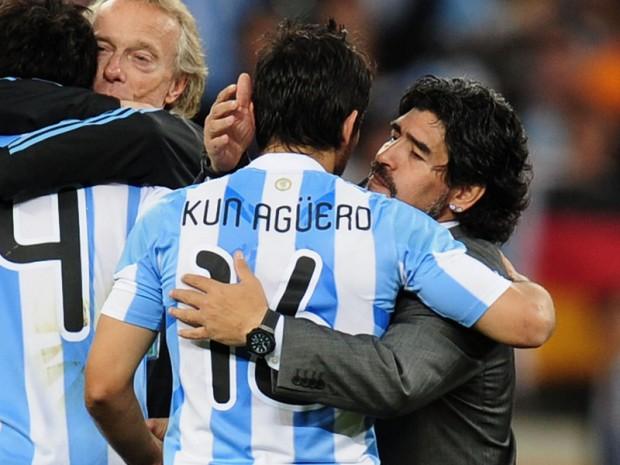 Kun Aguero with Soccer Legend Maradona