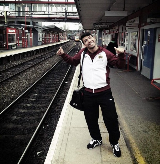 Sergio Aguero at Macclesfield train station