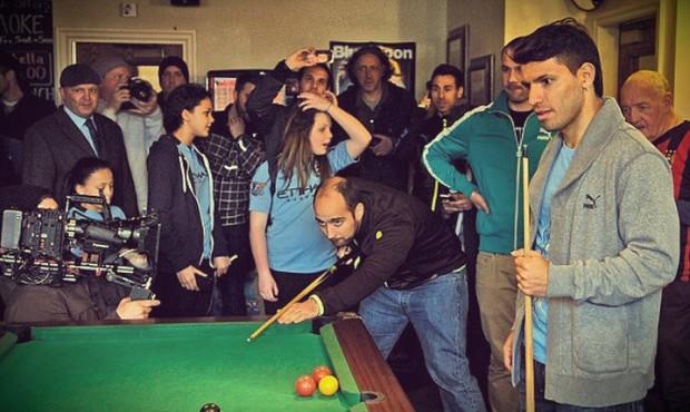 Sergio Aguero playing pool game