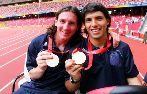 Messi with Aguero