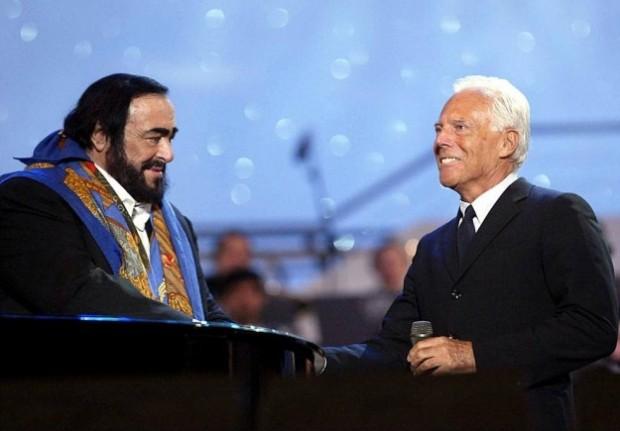 Luciano Pavarotti and Giorgio Armani