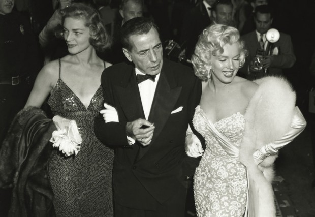 Marilyn Monroe with Lauren Bacall, Humphrey Bogart at the 1953 Oscars